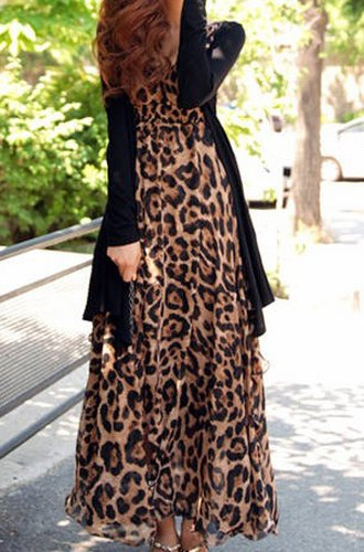 rochie lunga animal print